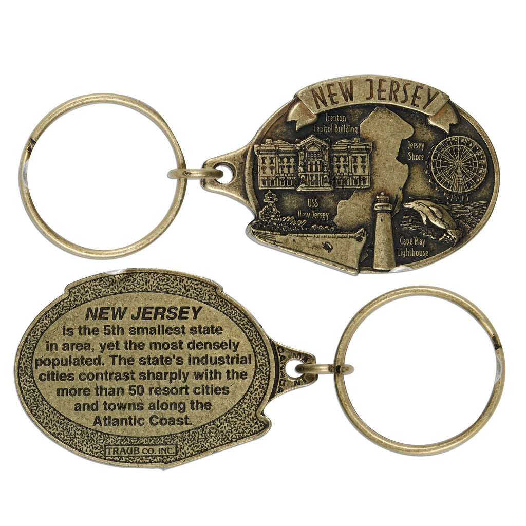 KRNJ06A Key Ring Antique Brass - New Jersey Map