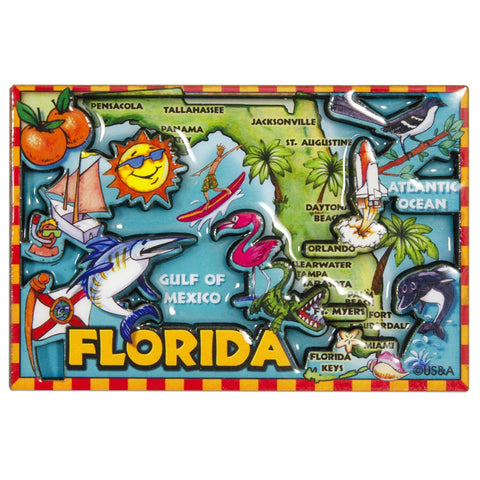 MGFL88 Dual Level Epoxy Magnet - Florida Map