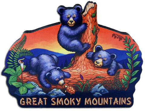 MGGS71 Magnet Large Artwood Great Smoky Mountains Bear Cubs