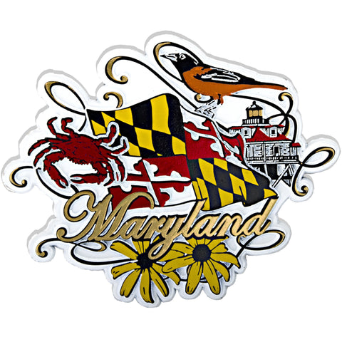 MGMD20 Rubber Magnet Large Maryland Flag with Scrolling