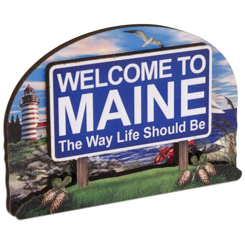 MGME56 Magnet Bi-Level Wood Welcome Sign Maine