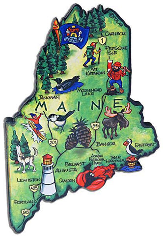 MGME70 Magnet Large Artwood Maine Map