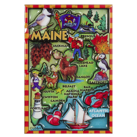 MGME88 Magnet - Dual Level Epoxy - Maine Map