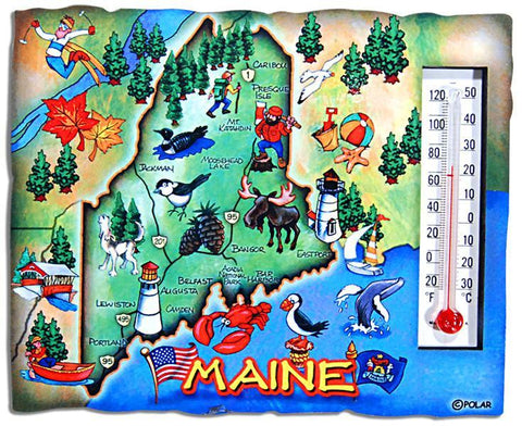 MGME95 Magnet Wood Thermometer Maine Map