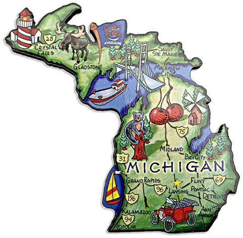 MGMI70 Magnet Large Artwood Michigan Map