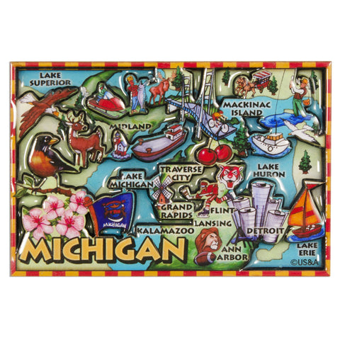 MGMI88 Dual Level Epoxy Magnet - Michigan Map
