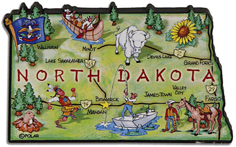 MGND70 Magnet Large Artwood North Dakota Map