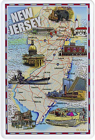 MGNJ11 Magnet Thick Lucite New Jersey Map