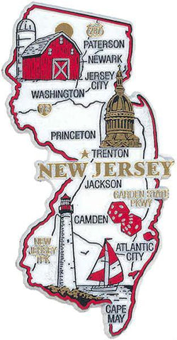 MGNJ21 Rubber Magnet Large New Jersey Map