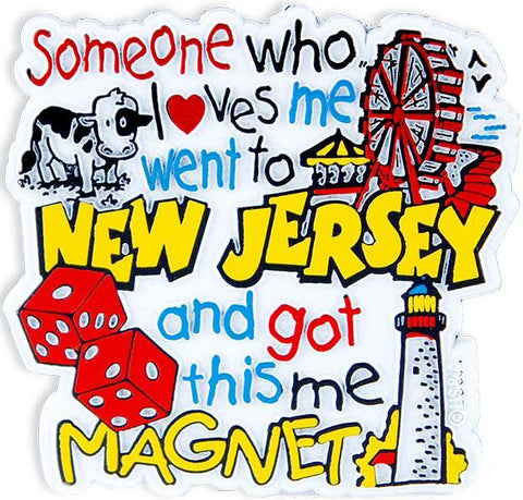 MGNJ23 Rubber Magnet Large New Jersey Someone Loves Me