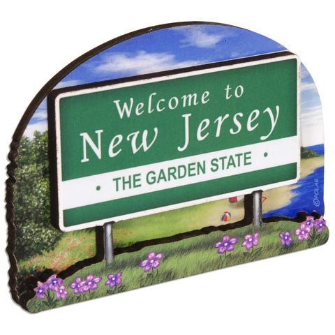MGNJ56 Magnet Bi-Level Wood Welcome Sign New Jersey