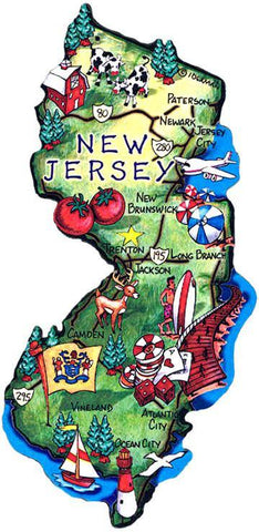MGNJ70 Magnet Large Artwood New Jersey Map