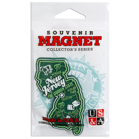 MGNJ98 Magnet 3 Color Map New Jersey with Cities