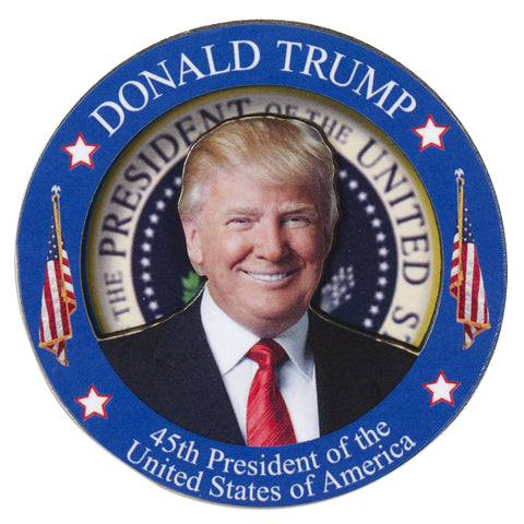 MGUS01 Wood Magnet - Circle - Donald Trump 45th President