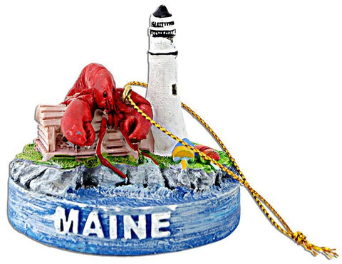 ORME1 Ornament Polyresin Maine Scene