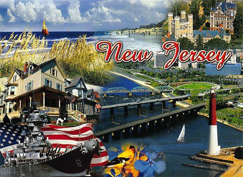 PCNJ001 Set 50 X Postcards 4X6 New Jersey Montage