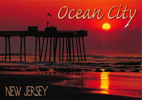 PCNJ027 Set 50 X Postcards 4X6 New Jersey Ocean City Pier sunset