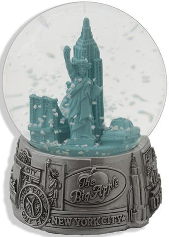 SNNY03 Water Globe 65mm Glass New York City Pewter Green