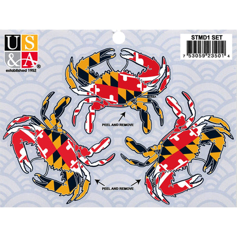 STMD1 Sticker Pack Maryland 3 Crabs all MD Flag