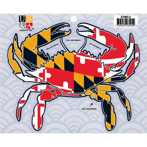 STMD5 Crab Cut Out Sticker with MD Flag 7 inch