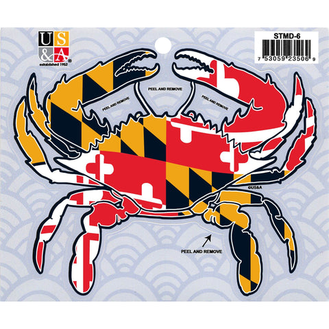 STMD6 Crab Cut Out Sticker with MD Flag 5 inch