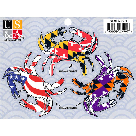 STMD7 Sticker Pack Maryland 3 Crabs MD USA Sport