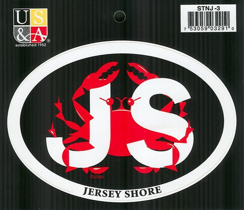 STNJ3 Euro Oval Sticker JS with Crab Jersey Shore