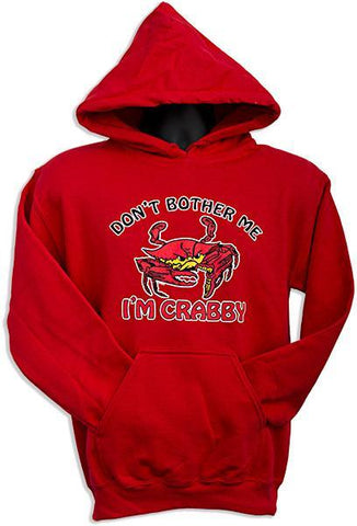 SWCR01R HOODED SWEATSHIRT Don't Bother Me I'm Crabby RED