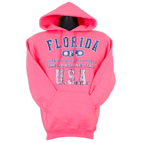 SWFL01P Hooded Sweatshirt - Florida 1-Hit SAFETY PINK