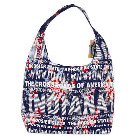 TBIN04 Flowers Tote Bag -  Indiana NAVY