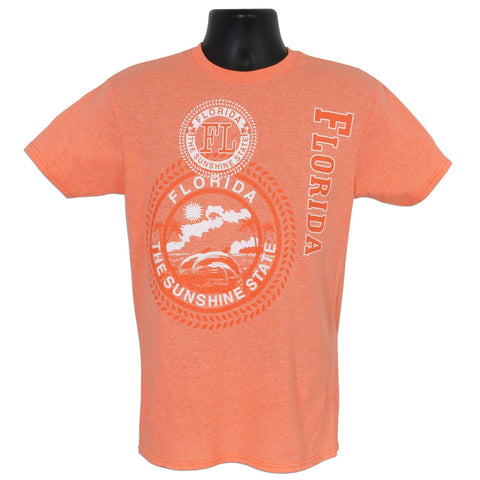 TSFL04C T-Shirt Florida Stamp CORAL HEATHER