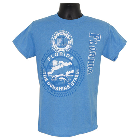 TSFL04H T-Shirt Florida Stamp HEATHER SAPPHIRE