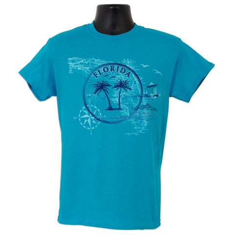 TSFL05T T-Shirt - Florida Circle/Map TROPICAL BLUE
