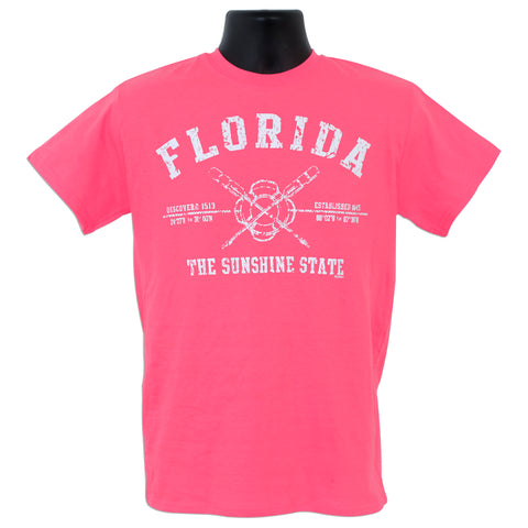 TSFL06P T-Shirt - Florida Crossed Oars SAFETY PINK