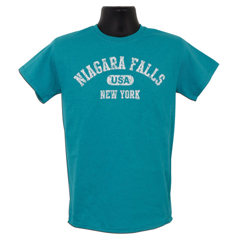 TSNF01T T-Shirt Niagara Falls USA Distressed TROP BLUE