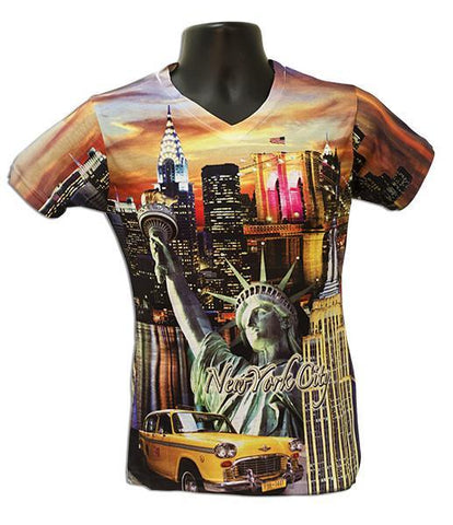 TSNY20S Sublimated V-Neck with Rhinestone NY Night