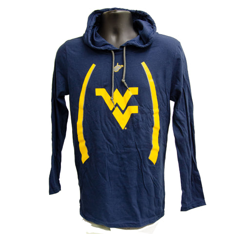 TSWU14N Long-Sleeve Hooded T-Shirt WVU with Stripes NAVY
