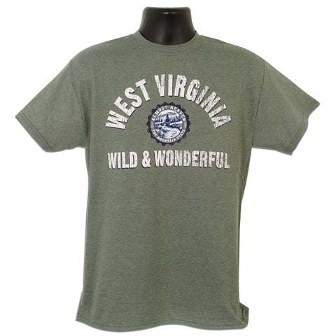 TSWV01M T-Shirt West Virginia Collegiate MILITARY HEATHER