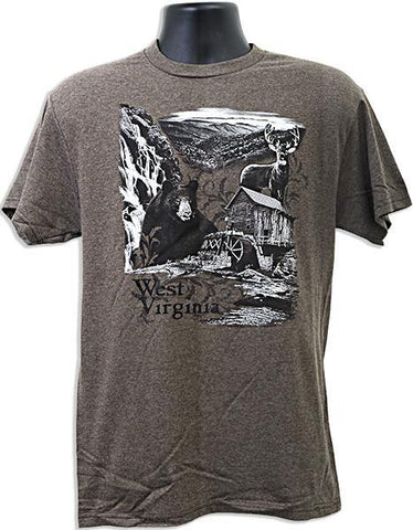 TSWV02B T-Shirt West Virginia Nature Scene BROWN HEATHER