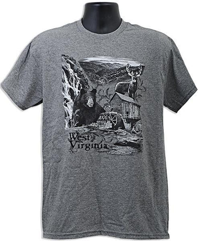 TSWV02G T-Shirt West Virginia Nature Scene GRAPHITE HEATHER