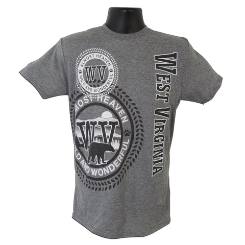 TSWV05G T-Shirt West Virginia Stamp GRAPHITE HEATHER