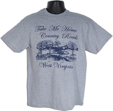 TSWV06G T-Shirt West Virginia Country Roads SPORT GREY