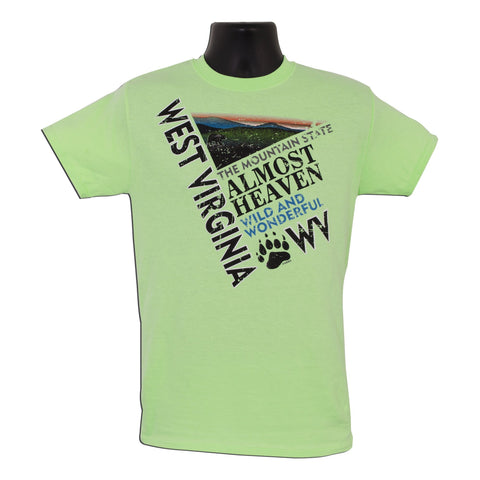 TSWV07M T-Shirt West Virginia Diagonal MINT