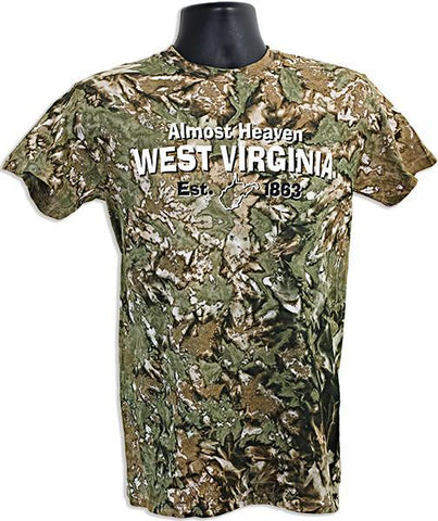 TSWV11C Tie Dye T - West Virginia Camo Green