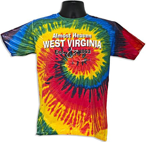 TSWV11R Tie Dye T - West Virginia Reactive Rainbow