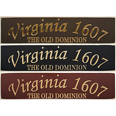 WSVA1 Wood Sign Carved Virginia 1607 Old Dominion