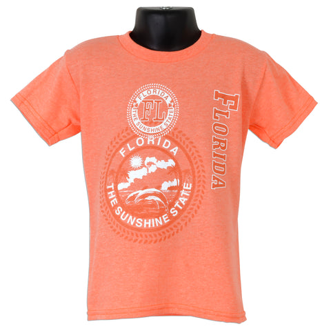 YTFL01C Youth T - Florida Stamp CORAL HEATHER