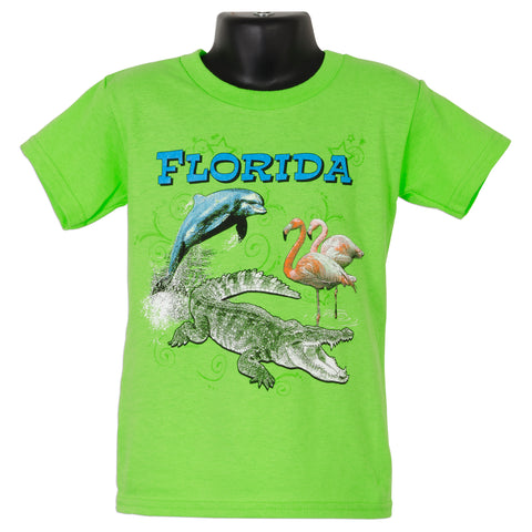 YTFL02L Youth T - Florida Animal Montage LIME