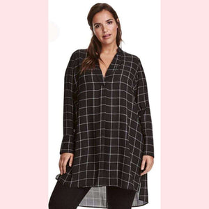 Vivant Tunic,Blissful Chic,Black and White Plaid / 3XL