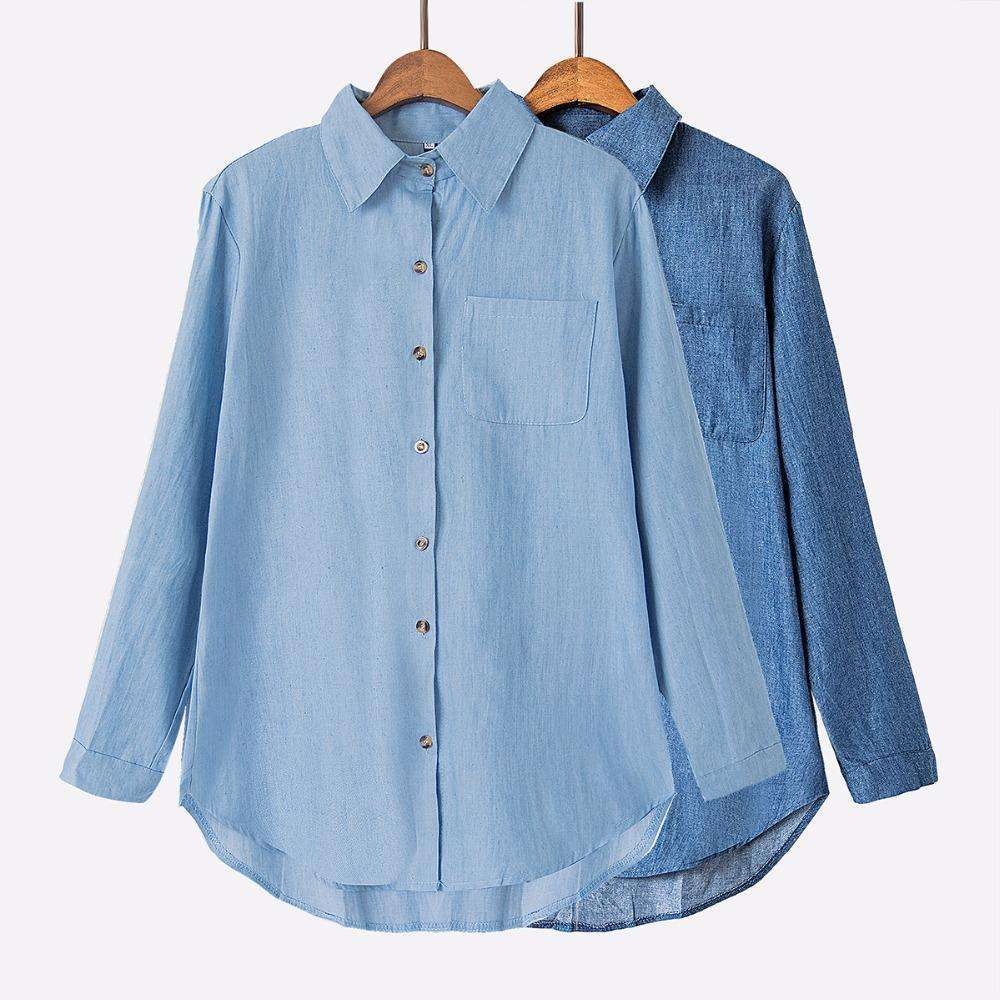Denim Chambray Top,Blissful Chic